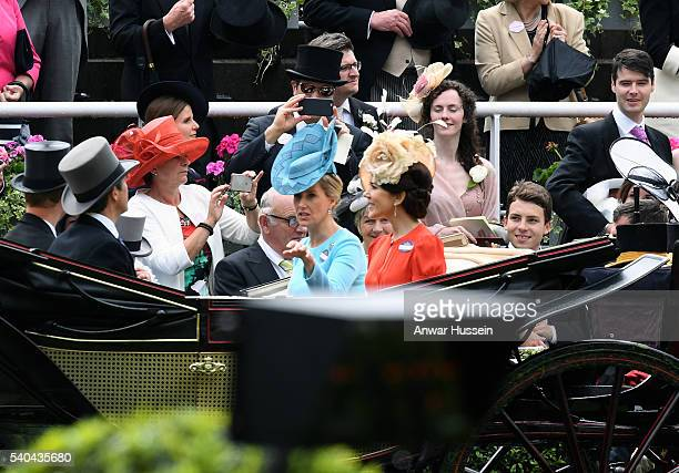 Sophie Countess of Wessex and Crown Princess Mary of Denmark arrive in an open carriage to attend Day 2 of Royal Ascot on June 15 2016 in Ascot...