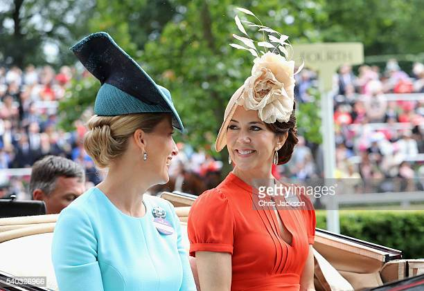 Sophie Countess of Wessex and Crown Princess Mary of Denmark attend the second day of Royal Ascot at Ascot Racecourse on June 15 2016 in Ascot England