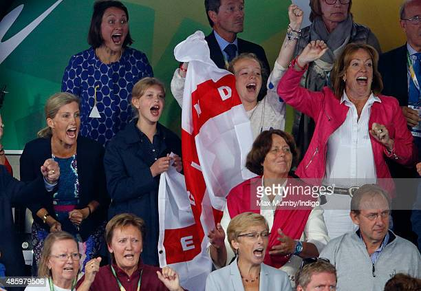 Sophie Countess of Wessex and daughter Lady Louise Windsor cheer as they watch England beat The Netherlands in the gold medal match to win the Unibet...
