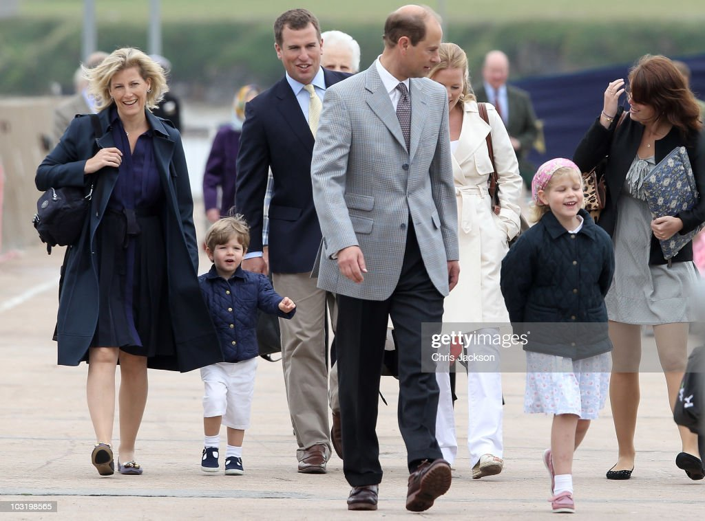 Sophie Countess of Wessex and her son James Windsor Viscount Severn Peter Phillips Prince Edward Earl of Wessex Autumn Phillips Lady Louise Windsor...