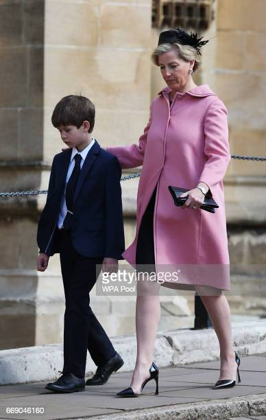 Sophie Countess of Wessex and James Viscount Severn attend the Easter Day service at St George's Chapel on April 16 2017 in Windsor England