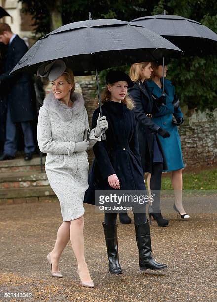 Sophie Countess of Wessex and Lady Louise Windsor attend a Christmas Day church service at Sandringham on December 25 2015 in King's Lynn England