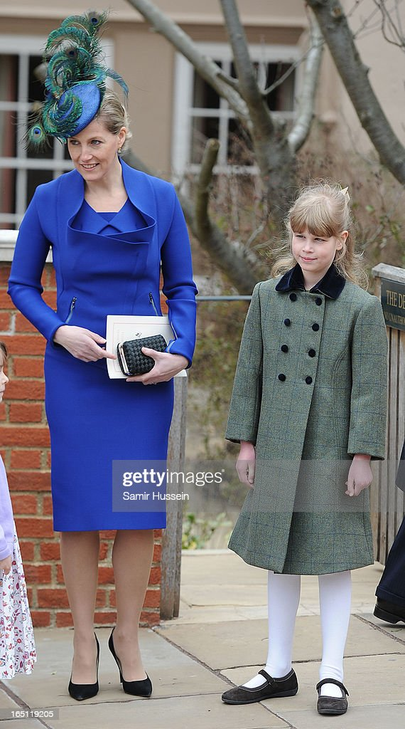 Sophie, Countess of Wessex and <a gi-track='captionPersonalityLinkClicked' href=/galleries/search?phrase=Lady+Louise+Windsor&family=editorial&specificpeople=159482 ng-click='$event.stopPropagation()'>Lady Louise Windsor</a> (R) attend an Easter Matins Service at Saint George's Chapel in Windsor Castle on March 31, 2013 in Windsor, England.