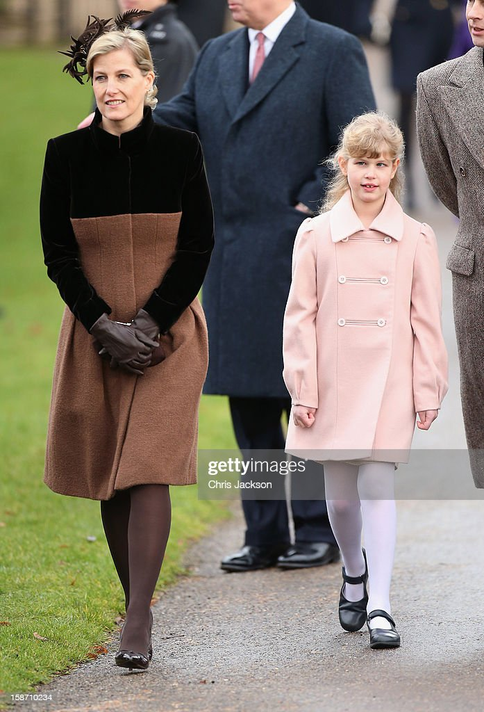 Sophie, Countess of Wessex (L) and Lady Louise Windsor attend the traditional Christmas Day church service at St Mary Magdalene Church, Sandringham on December 25, 2012 near King's Lynn, England.