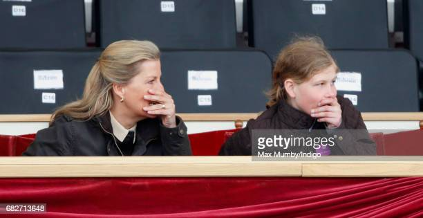 Sophie Countess of Wessex and Lady Louise Windsor react as they watch the Pony Club event on day 4 of the Royal Windsor Horse Show in Home Park on...