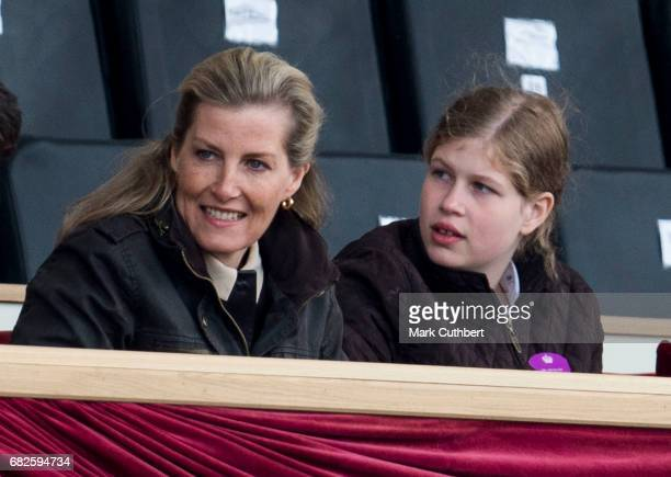 Sophie Countess of Wessex and Lady Louise Windsor watching a horse display in the main arena during the Windsor Horse Show on May 13 2017 in Windsor...