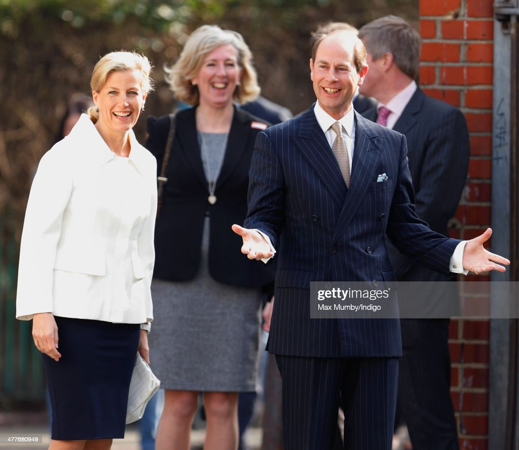 Sophie, Countess of Wessex and Prince Edward, Earl of Wessex arrive for a visit, on The Earl's 50th Birthday, to the Robert Browning Primary School, Walworth on March 10, 2014 in London, England.