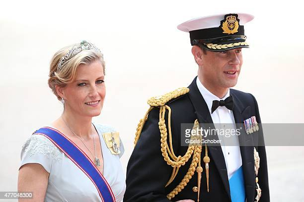 Sophie Countess of Wessex and Prince Edward Earl of Wessex attend the royal wedding of Prince Carl Philip of Sweden and Sofia Hellqvist at The Royal...