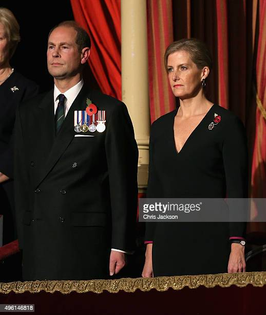 Sophie Countess of Wessex and Prince Edward Earl of Wessex in the Royal Box at the Royal Albert Hall during the Annual Festival of Remembrance on...