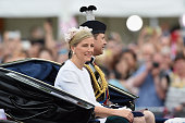 Sophie Countess of Wessex and Prince Edward Earl of Wessex sit in a carriage during the Trooping the Colour this year marking the Queen's 90th...