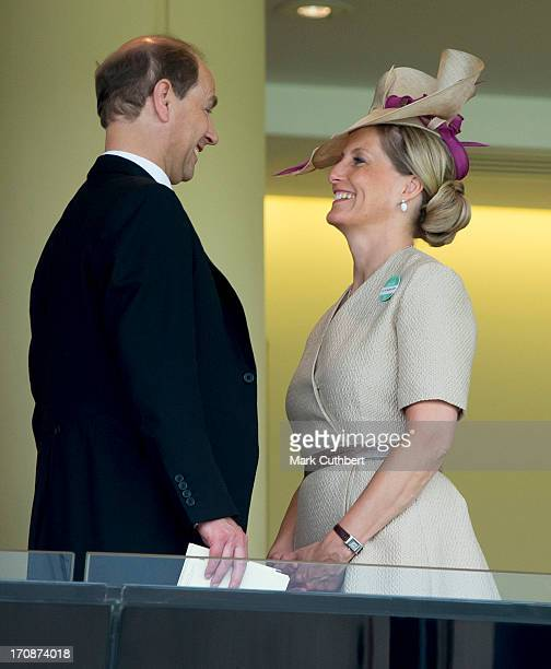 Sophie Countess of Wessex and Prince Edward Earl of Wessex spend their 14th wedding anniversary attending Day 2 of Royal Ascot at Ascot Racecourse on...