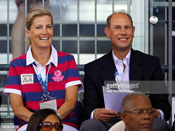 Sophie Countess of Wessex and Prince Edward Earl of Wessex watch the track cycling in the Sir Chris Hoy Velodrome on day one of 20th Commonwealth...