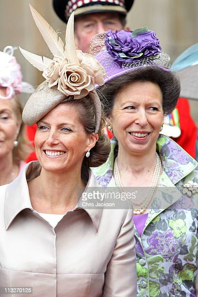 Sophie Countess of Wessex and Princess Anne The Princess Royal following the marriage of Prince William Duke of Cambridge and Catherine Duchess of...