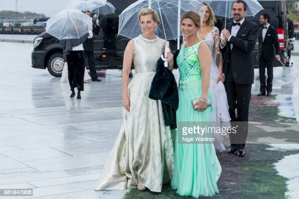 Sophie Countess of Wessex and Princess Martha Louise of Norway arrives at the Opera House on the occasion of the celebration of King Harald and Queen...