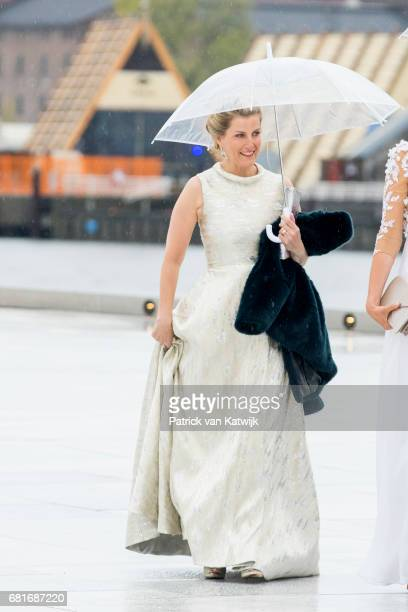 Sophie Countess of Wessex arrives at the Opera House on the ocassion of the celebration of King Harald and Queen Sonja of Norway 80th birthdays on...