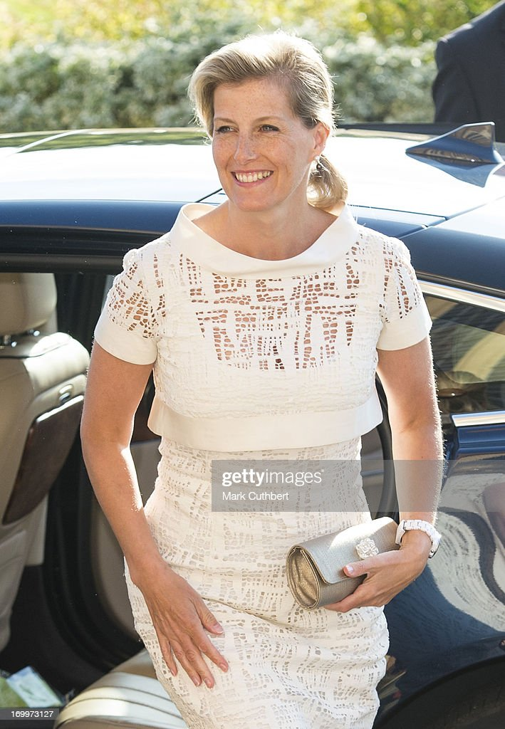Sophie, Countess of Wessex arrives for a reception at the Guildford Flower Festival on June 5, 2013 in Guildford, England.