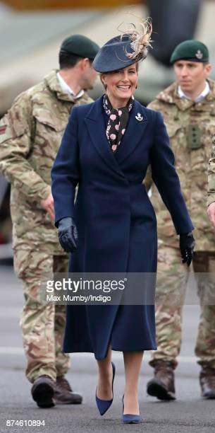 Sophie Countess of Wessex attends 5 Rifles homecoming parade following a nine month operational deployment to Estonia at Ward Barracks Bulford Camp...