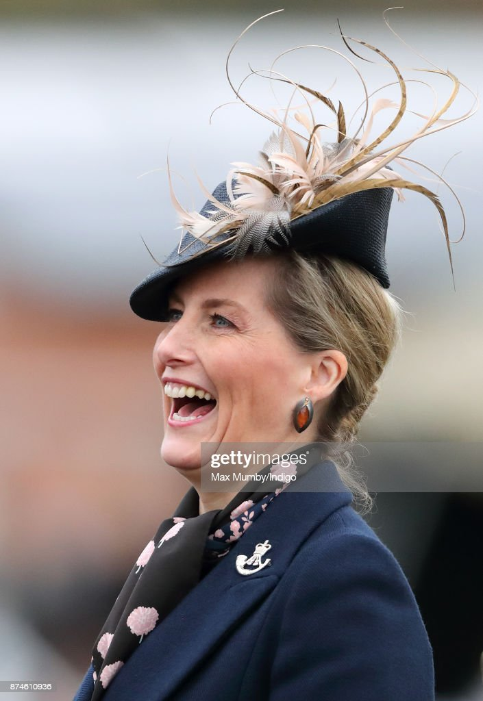 Sophie, Countess of Wessex (in her role as Royal Colonel, 5th Battalion The Rifles) attends 5 Rifles homecoming parade following a nine month operational deployment to Estonia at Ward Barracks, Bulford Camp on November 14, 2017 in Salisbury, England.