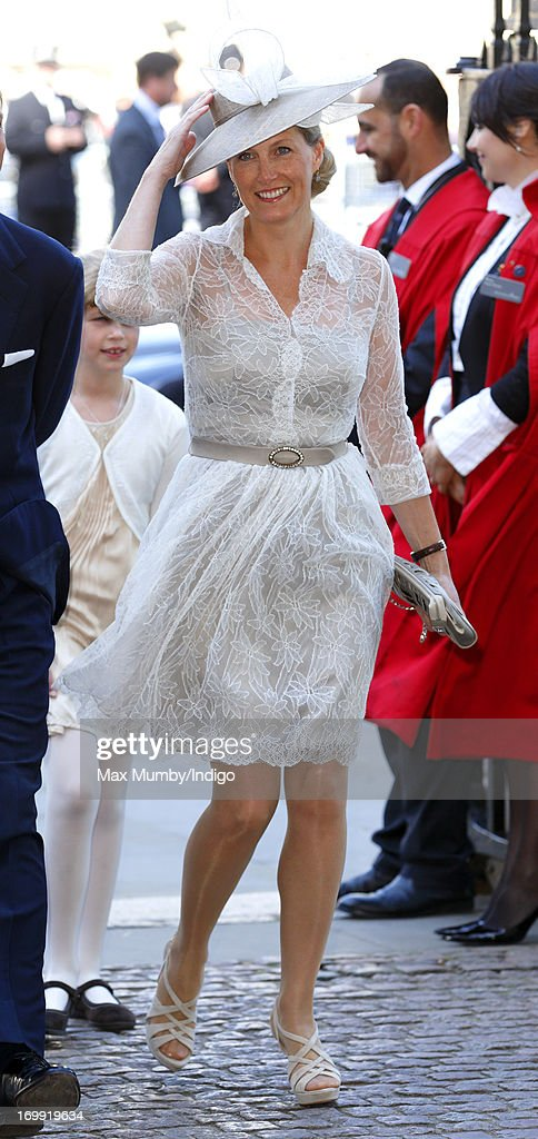 Sophie, Countess of Wessex attends a service of celebration to mark the 60th anniversary of the Coronation of Queen Elizabeth II at Westminster Abbey on June 4, 2013 in London, England. The Queen's Coronation took place on June 2, 1953 after a period of mourning for her father King George VI, following her ascension to the throne on February 6, 1952. The event 60 years ago was the first time a coronation was televised for the public.