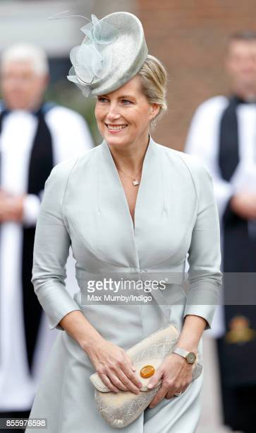 Sophie Countess of Wessex attends a service of thanksgiving at St Martin's Church before the Headley Court Farewell Parade on September 29 2017 in...