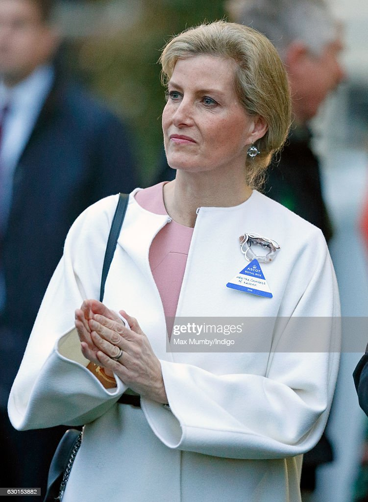 Sophie, Countess of Wessex attends the Christmas Racing Meet at Ascot Racecourse on December 17, 2016 in Ascot, England.
