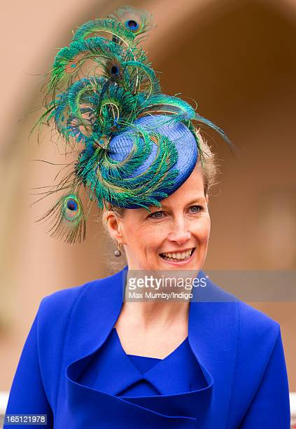 Sophie Countess of Wessex attends the Easter Matins Church Service at St George's Chapel Windsor Castle on March 31 2013 in Windsor England