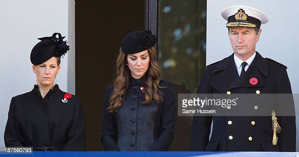 Sophie Countess of Wessex Cahterine Duchess of Cambridge and Vice Admiral Sir Timothy Laurence attend Remembrance Sunday at the Cenotaph on Whitehall...