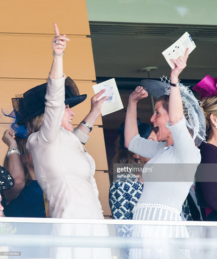 Sophie, Countess of Wessex (R) celebrates on Ladies Day on day 3 of Royal Ascot at Ascot Racecourse on June 18, 2015 in Ascot, England.