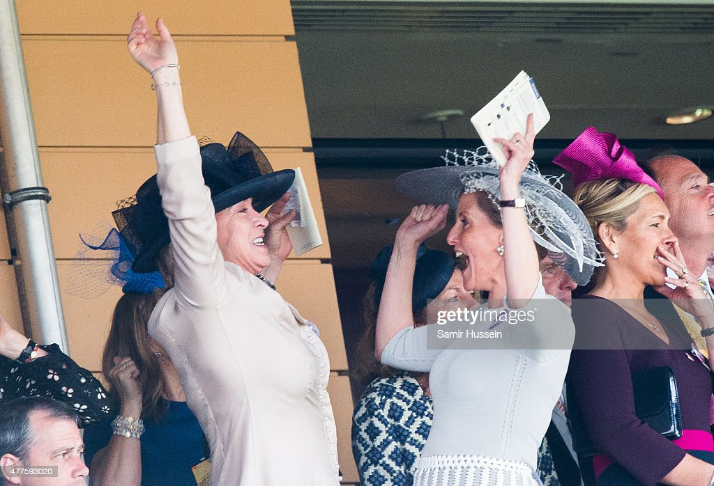 Sophie, Countess of Wessex celebrates on Ladies Day on day 3 of Royal Ascot at Ascot Racecourse on June 18, 2015 in Ascot, England.