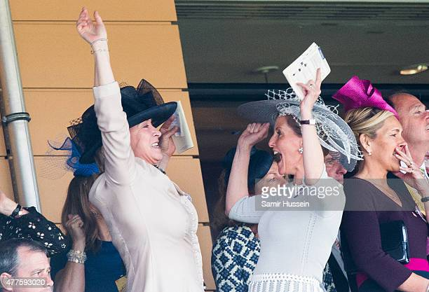 Sophie Countess of Wessex celebrates on Ladies Day on day 3 of Royal Ascot at Ascot Racecourse on June 18 2015 in Ascot England