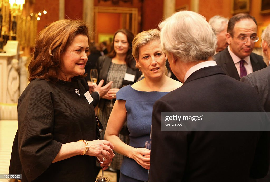 Sophie, Countess of Wessex (C) chats to guests during a reception for MPs and MEPs at Buckingham Palace on March 5, 2013 in London, England. The reception was attended by Prince Philip, Duke Of Edinburgh and Sophie, Countess of Wessex.