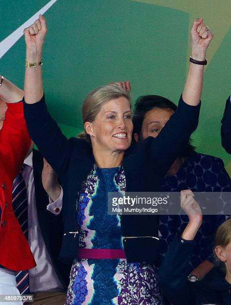 Sophie Countess of Wessex cheers as she watches England beat The Netherlands in the gold medal match to win the Unibet EuroHockey Championships at...