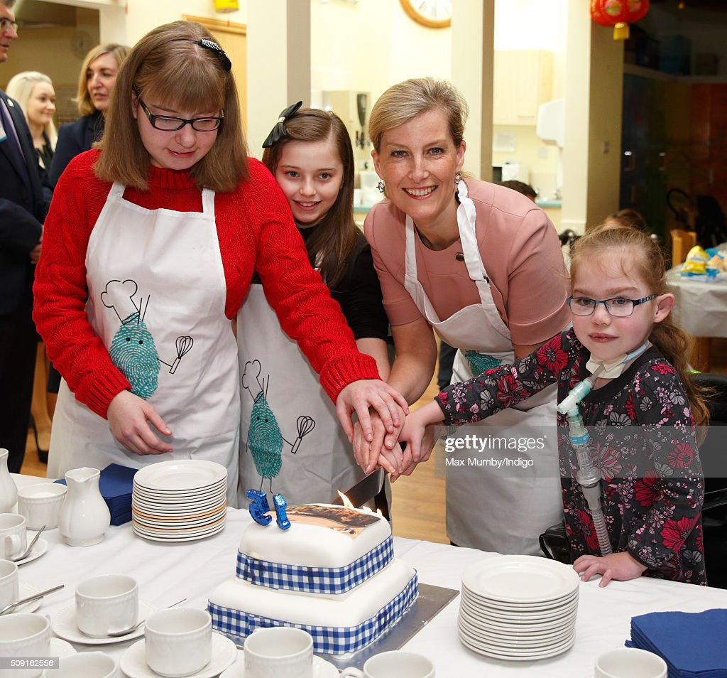Sophie, Countess of Wessex cuts a birthday cake as she visits Christopher's Children's Hospice to mark the 15th birthday of the charity Shooting Star Chase on February 9, 2016 in Guildford, England.