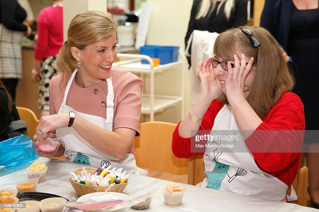 Sophie, Countess of Wessex decorates biscuits, cup cakes and icing crowns as she visits Christopher's Children's Hospice to mark the 15th birthday of the charity Shooting Star Chase on February 9, 2016 in Guildford, England.