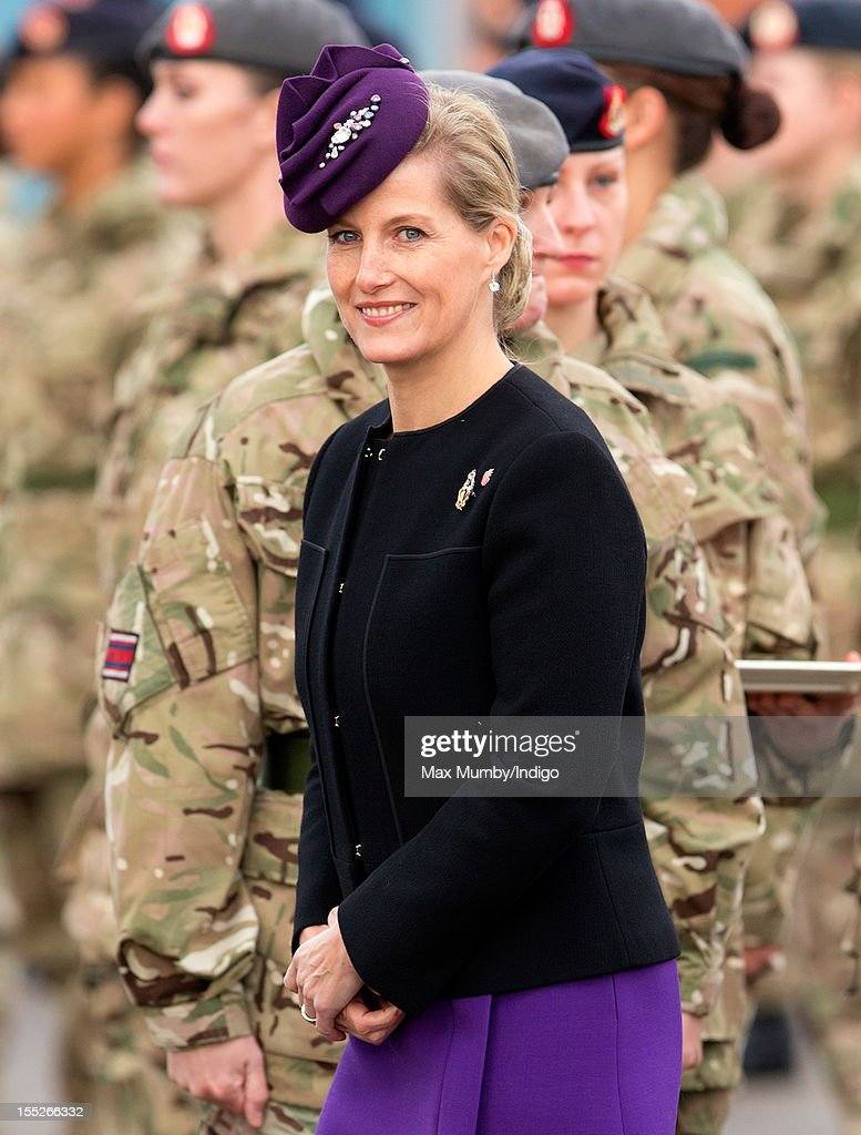 Sophie, Countess of Wessex in her role as Colonel-In-Chief of QARANC (Queen Alexandra's Royal Army Nursing Corp) presents Afghanistan Operational Service Medals to Army nurses of the 22 Field Hospital as she attends their Medals Parade at Normandy Barracks on November 02, 2012 in Aldershot, England.