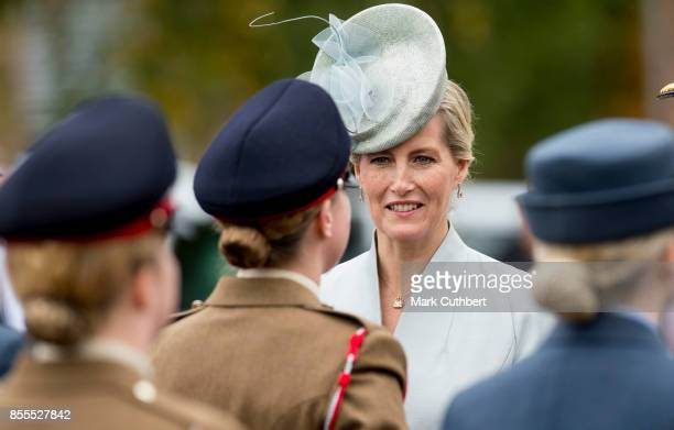 Sophie Countess Of Wessex inspects the troops as part of the Headley Court Farewell parade at St Martins Church on September 29 2017 in Dorking...
