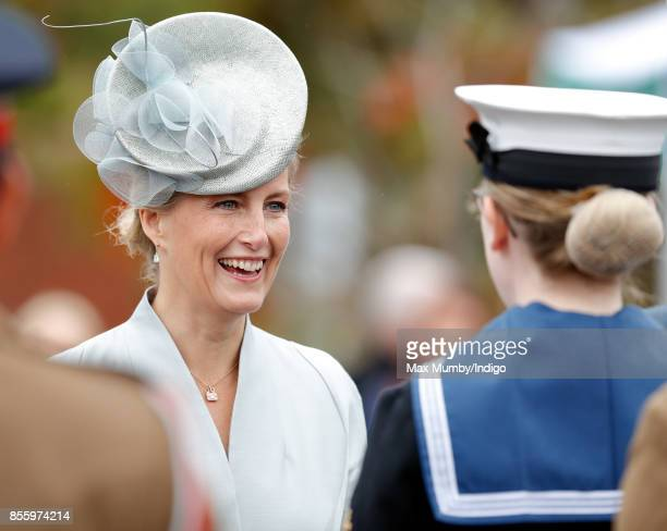 Sophie Countess of Wessex inspects the troops as she attends the Headley Court Farewell Parade on September 29 2017 in Dorking England A service of...