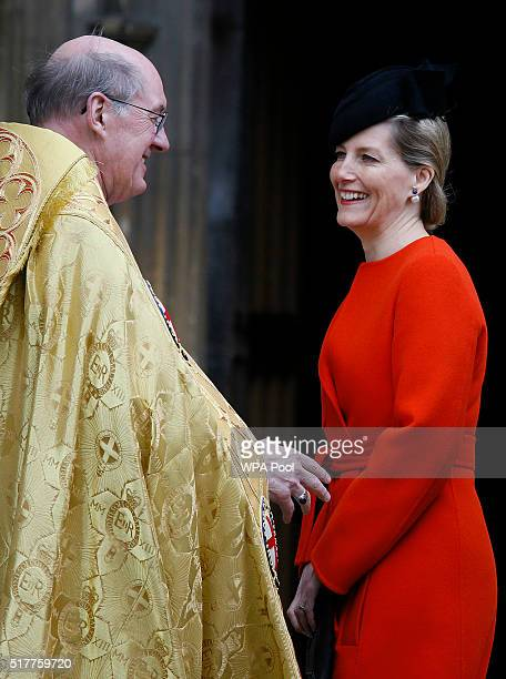 Sophie Countess of Wessex is greeted by the Dean of Windsor The Right Reverend David Conner as she arrives for the Easter Mattins service at St...