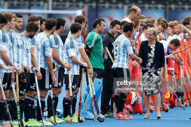 Sophie Countess of Wessex is introduced to the teams before the Men's World Hockey League Semi Final Final match at Lee Valley Hockey Centre London