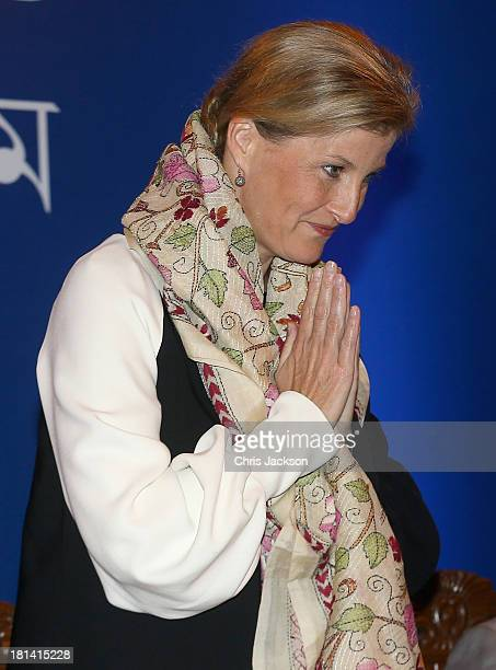Sophie Countess of Wessex is presented with a traditional Bengali scarf as she attends the closing ceremony of an ORBIS Opthalmic Conference at...