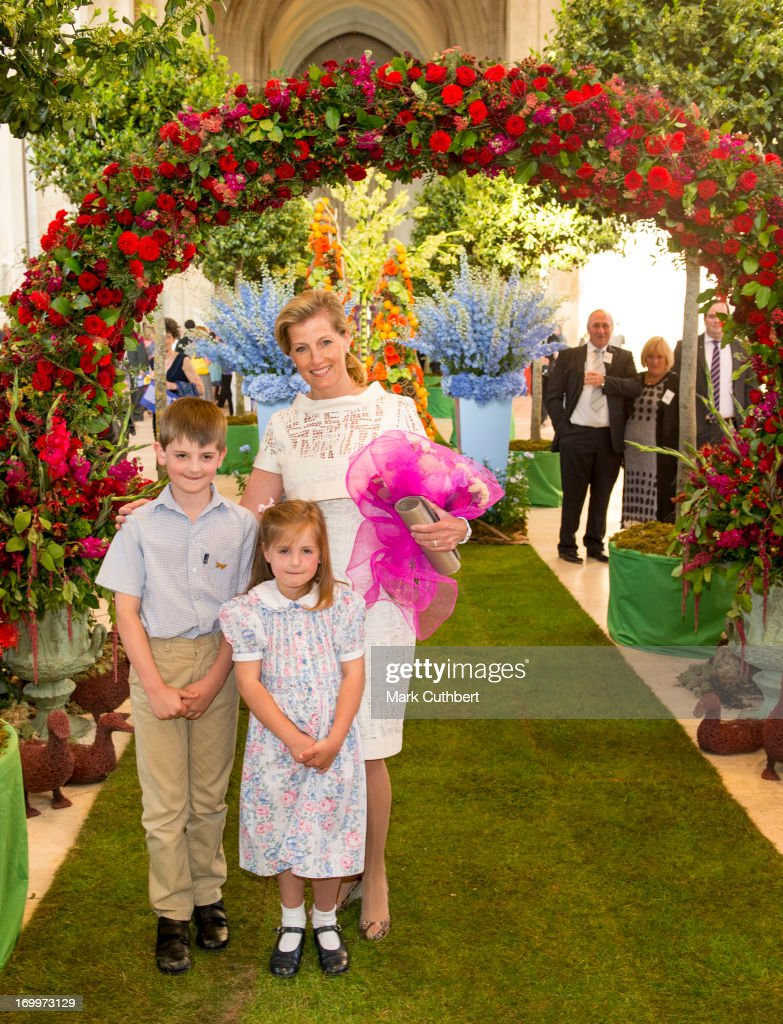 Sophie, Countess of Wessex is presented with some flowers as she attends a reception for the Guildford Flower Festival on June 5, 2013 in Guildford, England.