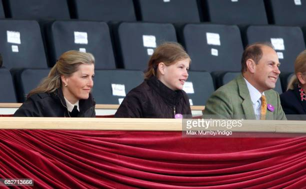 Sophie Countess of Wessex Lady Louise Windsor and Prince Edward Earl of Wessex watch the Pony Club event on day 4 of the Royal Windsor Horse Show in...