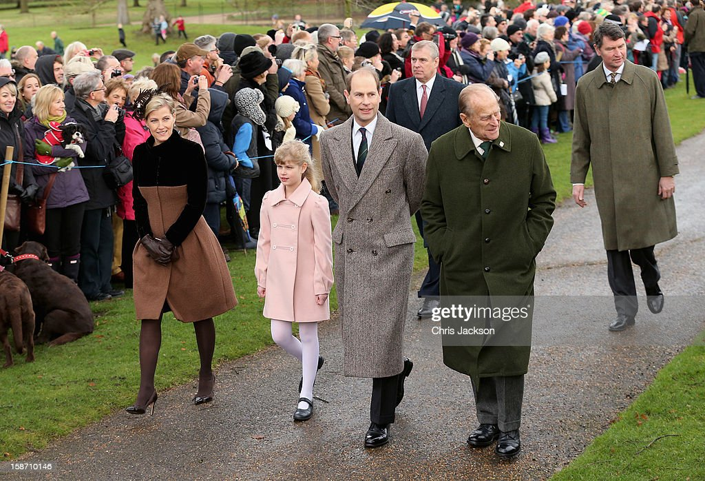 Sophie, Countess of Wessex, Lady Louise Windsor, Prince Edward, Earl of Wessex, Prince Philip, Duke of Edinburgh, Prince Andrew, Duke of York (back L) and Vice Admiral Sir Timothy Laurence attend the traditional Christmas Day church service at St Mary Magdalene Church, Sandringham on December 25, 2012 near King's Lynn, England.