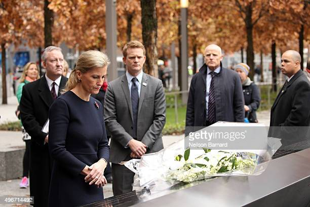 Sophie Countess of Wessex lays a bouquet of flowers during a visit to The National September 11th Memorial Museum on November 11 2015 in New York City