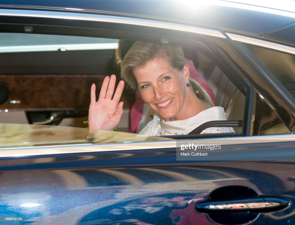Sophie, Countess of Wessex leaves a reception for the Guildford Flower Festival on June 5, 2013 in Guildford, England.