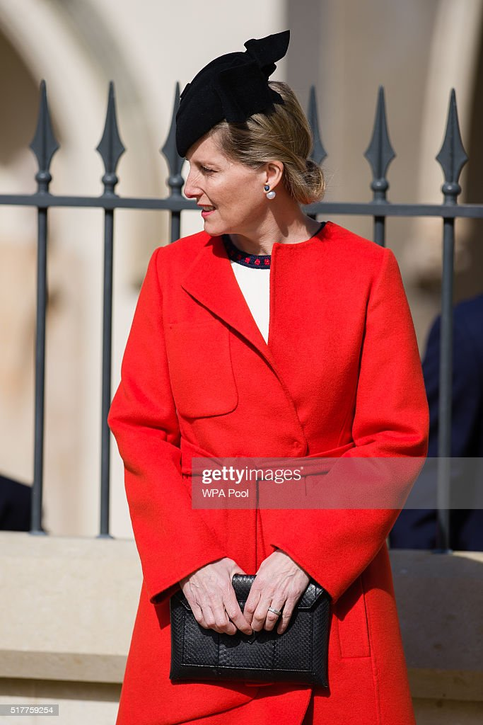 Sophie, Countess of Wessex, leaves after the Easter Sunday church service at St George's Chapel, Windsor Castle on March 27, 2016 in Windsor, England.