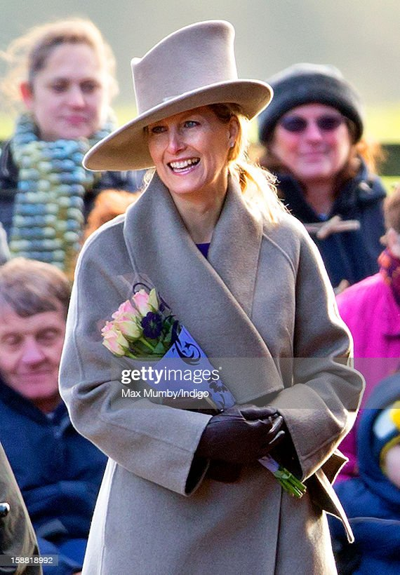 Sophie, Countess of Wessex leaves St. Mary Magdalene Church, Sandringham after attending Sunday service on December 30, 2012 near King's Lynn, England.
