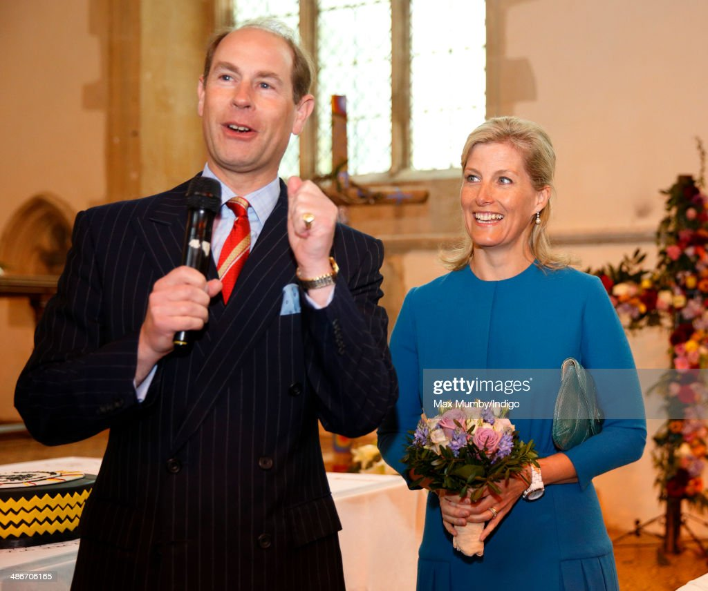 Sophie, Countess of Wessex looks on as <a gi-track='captionPersonalityLinkClicked' href=/galleries/search?phrase=Prince+Edward+-+Earl+of+Wessex&family=editorial&specificpeople=160185 ng-click='$event.stopPropagation()'>Prince Edward</a>, Earl of Wessex makes a speech during a visit to the Abbey Church of St Peter and St Paul (Dorchester Abbey) on a day of engagements in Oxfordshire on April 25, 2014 in Dorchester-on-Thames, England.