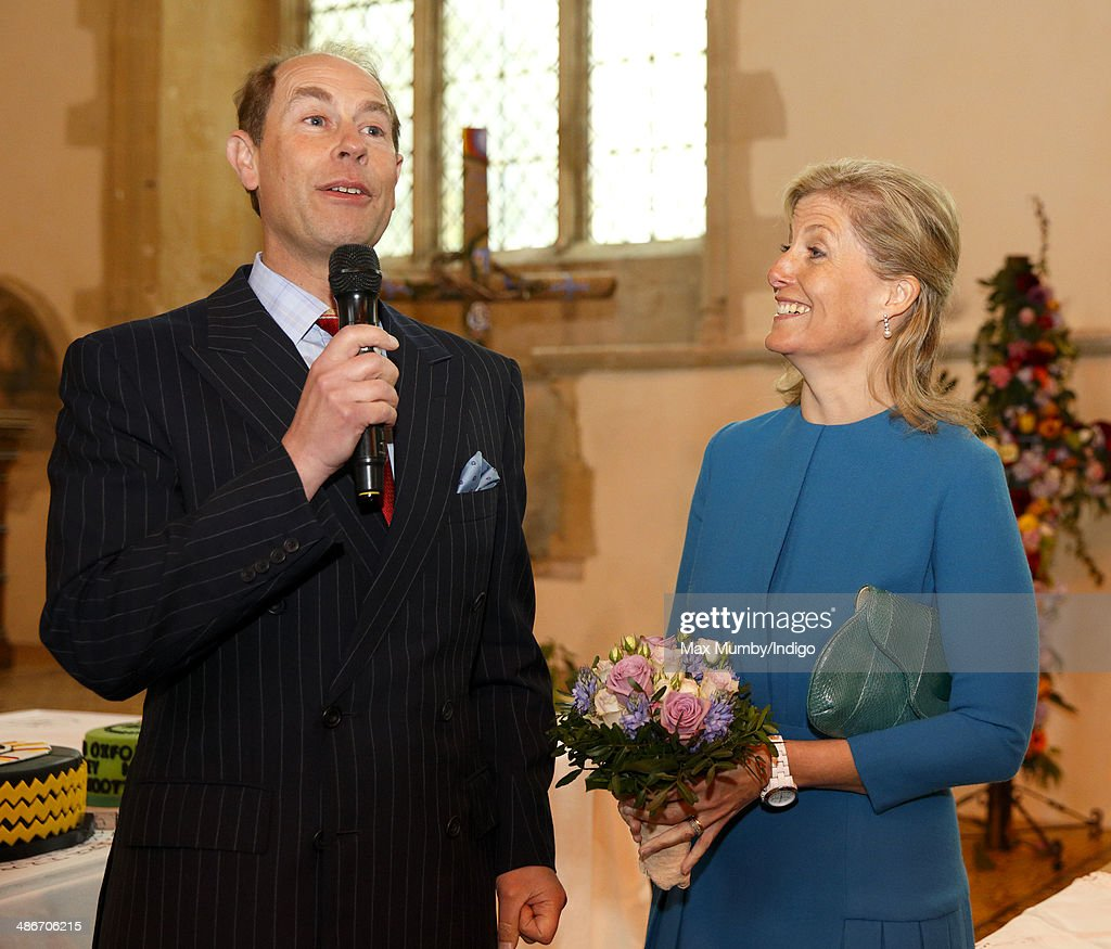 Sophie, Countess of Wessex looks on as Prince Edward, Earl of Wessex makes a speech during a visit to the Abbey Church of St Peter and St Paul (Dorchester Abbey) on a day of engagements in Oxfordshire on April 25, 2014 in Dorchester-on-Thames, England.
