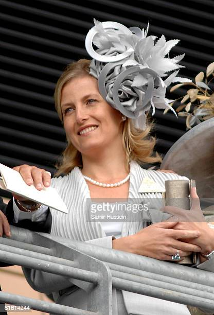 Sophie Countess of Wessex looks on from the balcony of the main stand on day two of Royal Ascot on June 18 2008 in Ascot England